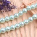 Beads, Glass Imitation pearls, Glass, Light blue , Round shape, Diameter 12mm, 7 Beads, [FZZ0066]